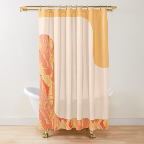 Mid-Century Tropical Orange Style #redbubble #tropical Shower Curtain