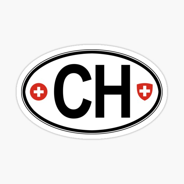 Switzerland Oval Country Code Decal Sticker