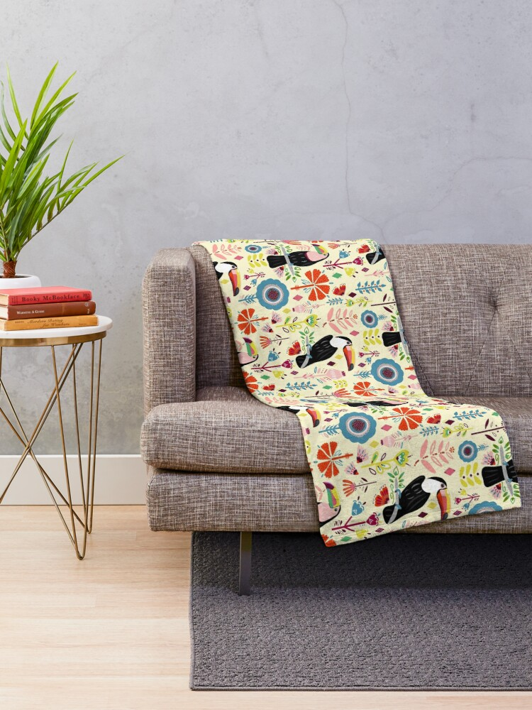 Alternate view of Colorful Toucans On Cream Throw Blanket