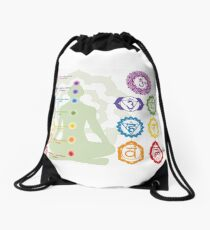 Spiritual Kloth Chakra 7 by Kordial Orange Drawstring Bag