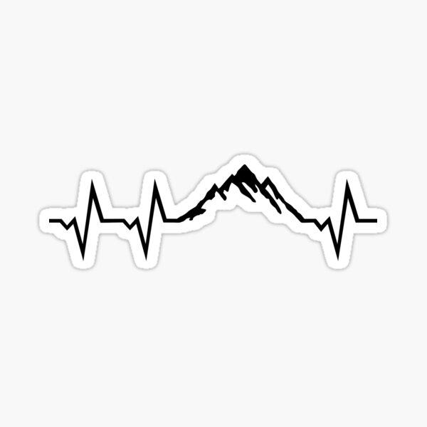 Las montañas y el corazón EKG Pegatina