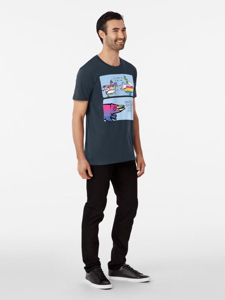 Vista alternativa de Camiseta premium Organizar. Educar. Amor. Lucha. (Amigos guerreros con cuernos)