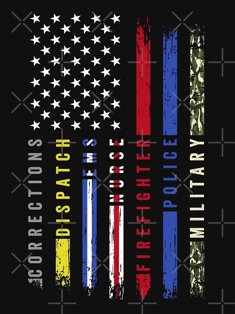First Responders Hero Flag USA Thin Line Salute by SuckerHug