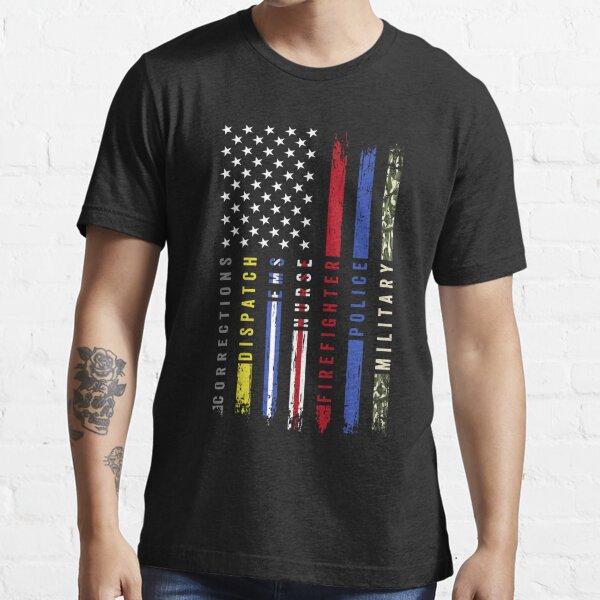 First Responders Hero Flag USA Thin Line Salute Essential T-Shirt