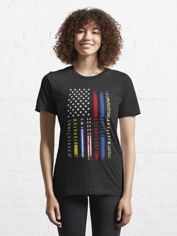 Alternate view of First Responders Hero Flag USA Thin Line Salute Essential T-Shirt