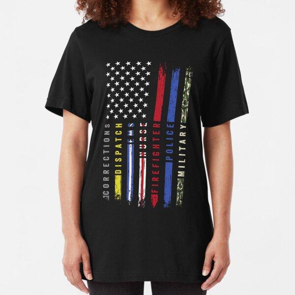 First Responders Hero Flag USA Thin Line Salute Slim Fit T-Shirt