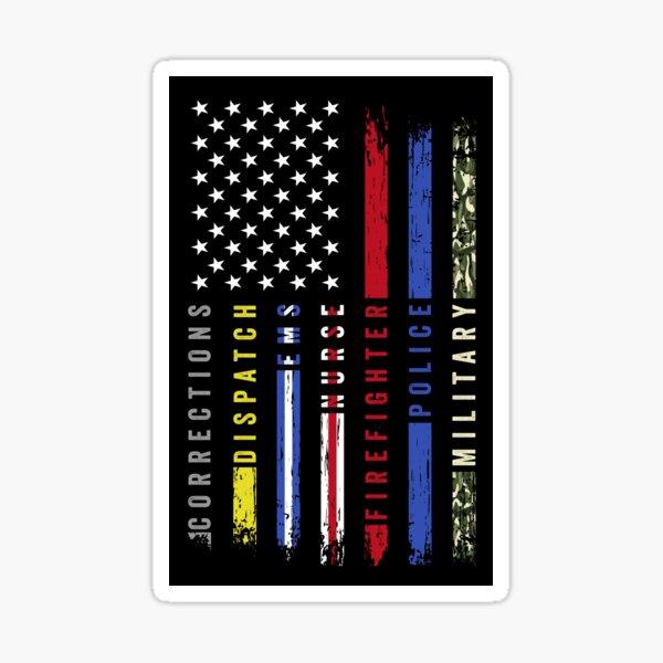 First Responders Hero Flag USA Thin Line Salute Sticker