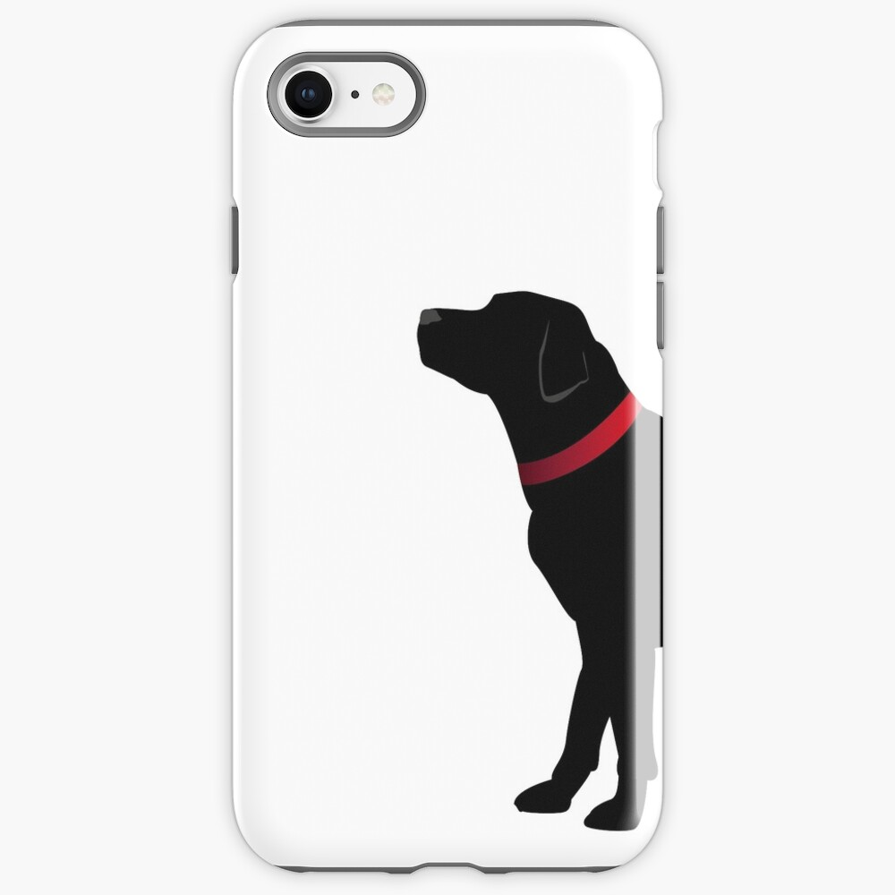 Black Labrador with Red Collar iPhone Case & Cover