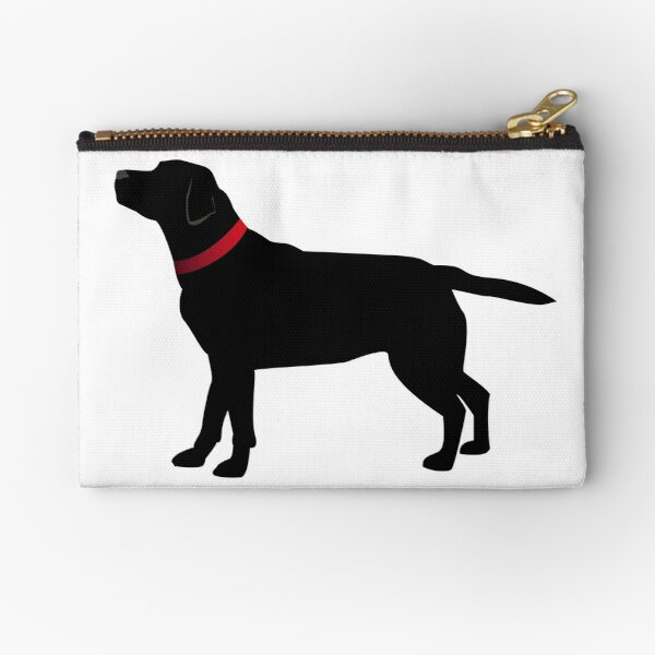 Black Labrador with Red Collar Zipper Pouch