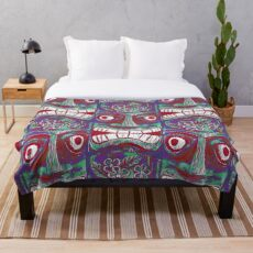 Tiki culture in red Throw Blanket