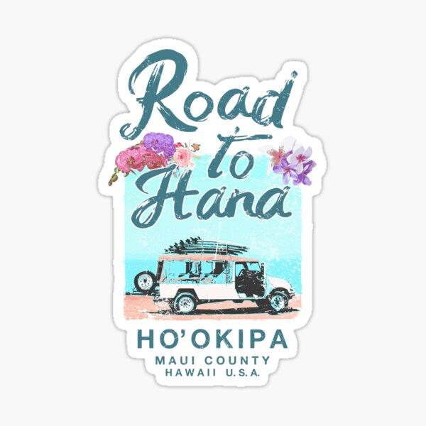 Road to Hana Maui Hawaii Vintage Hawaiian Floral Sticker