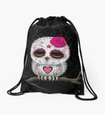 Cute Pink Day of the Dead Sugar Skull Owl Drawstring Bag