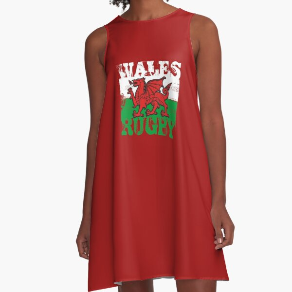 Wales Rugby Flying Dragon Flag  A-Line Dress