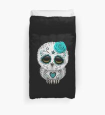 Funda nórdica Cute Teal Blue Day of the Dead Sugar Skull Owl