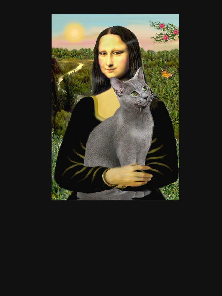Mona Lisa and her Russian Blue cat by JeanBFitzgerald