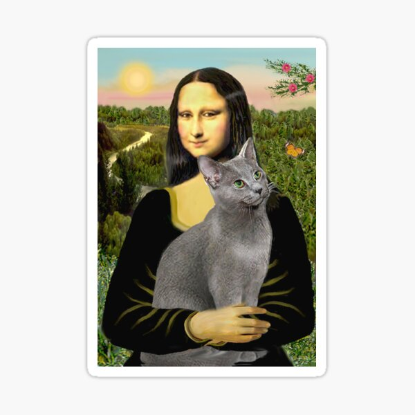 Mona Lisa and her Russian Blue cat Sticker
