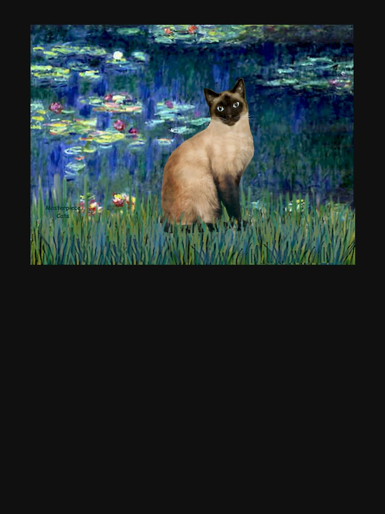 Lily Pond (#4) (Monet) and her Chocolate Point Siamese Cat by JeanBFitzgerald