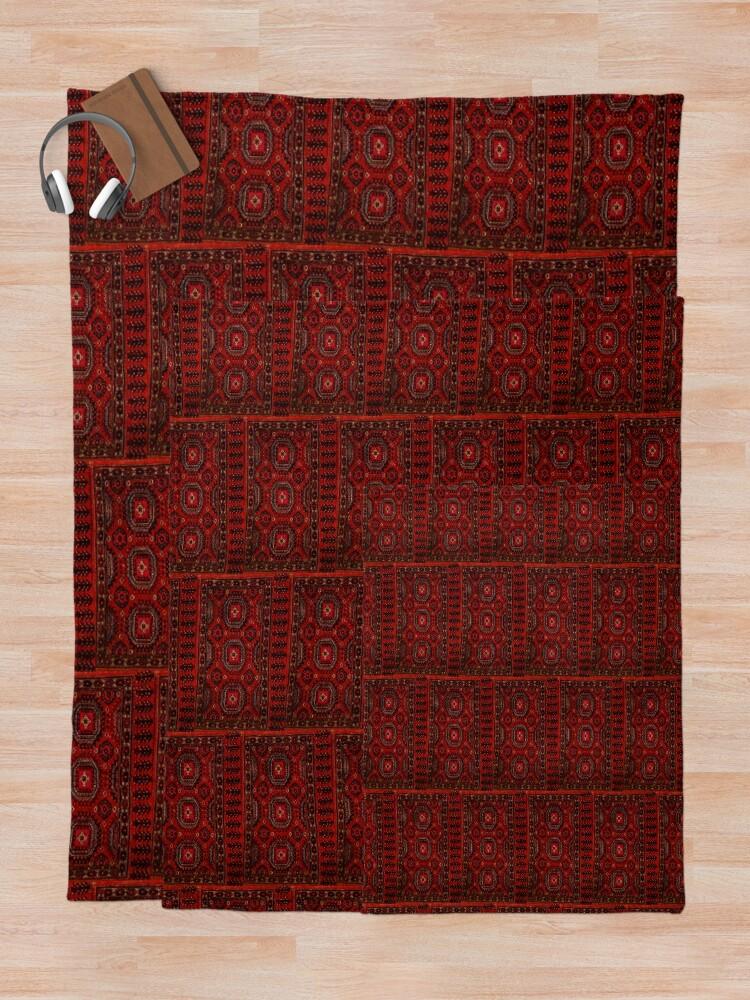 Alternate view of  Red Oriental rug look  Throw Blanket