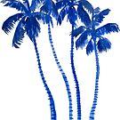 Indigo Blue Palm Trees by LIMEZINNIASDES