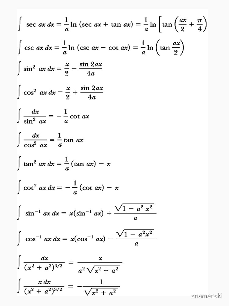 Some #Indefinite #Integrals #Math Mathematics #Calculus Integral sin cos tan by znamenski
