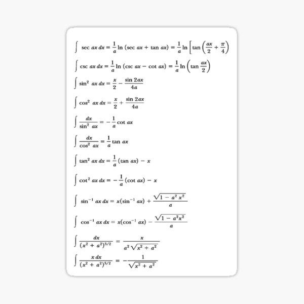 Some #Indefinite #Integrals #Math Mathematics #Calculus Integral sin cos tan Sticker