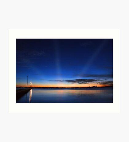 Crepuscular Rays - Como Jetty Western Australia  Art Print