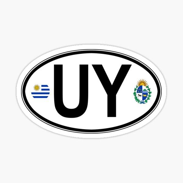 Calcomanía con código de país oval de Uruguay Pegatina
