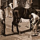 Cowboys shoeing a horse. by Brian Tarr