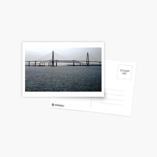 The Arthur Ravnel Bridge Over Charleston Harbor, With the Old Cooper River Bridge in the Background Postcard