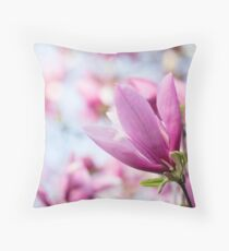 Magenta Magnolia Throw Pillow