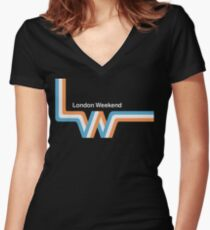 "Retro LWT ""ribbon"" television logo  Women's Fitted V-Neck T-Shirt"