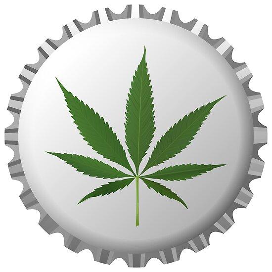 Cannabis leaf on bottle cap by Laschon Robert Paul