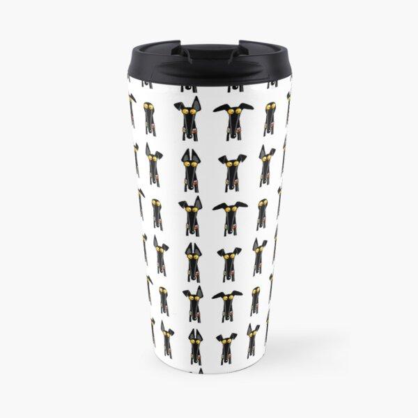 Greyhound semaphore: White Travel Mug