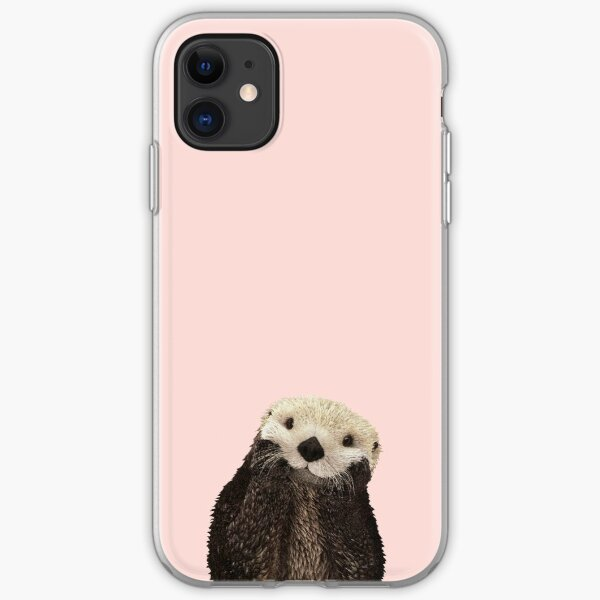 Cute Otter against a rose gold background. Minimalist. Coastal. Adorable. iPhone Soft Case