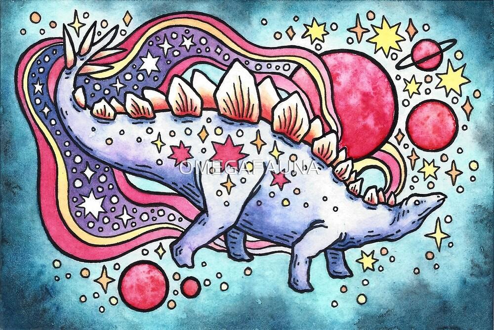 Star Stego | Cosmic Dinosaur Watercolor by OMEGAFAUNA
