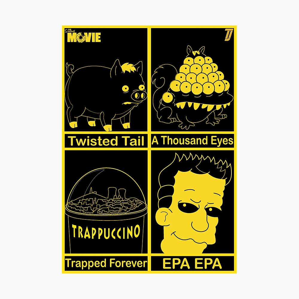The Simpsons Movie Heed This Warning Illustration Framed Art Print By Roguelegacy Redbubble