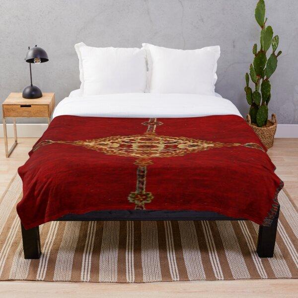 Persian carpet bold red design Throw Blanket