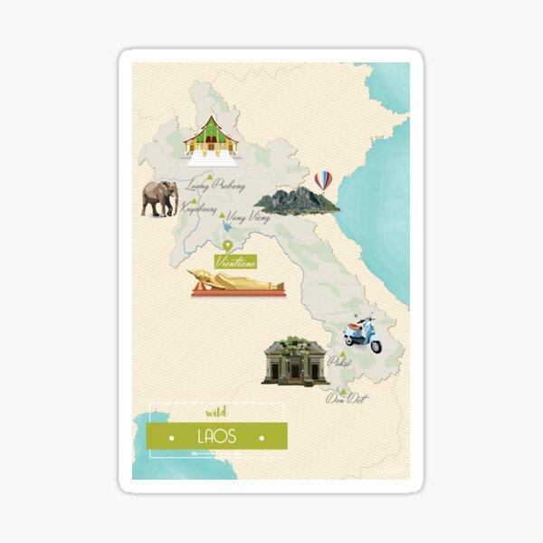 Carte Laos Sticker