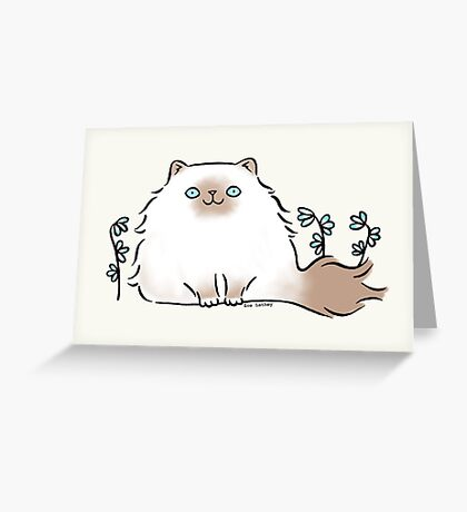 Himalayan Kitty Cat with Blue Flowers Greeting Card