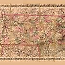 Coltons Karte des Staates Tennessee (1876) von allhistory