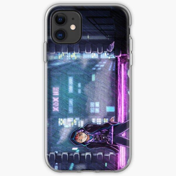Cyberpunk in the rain iPhone Soft Case