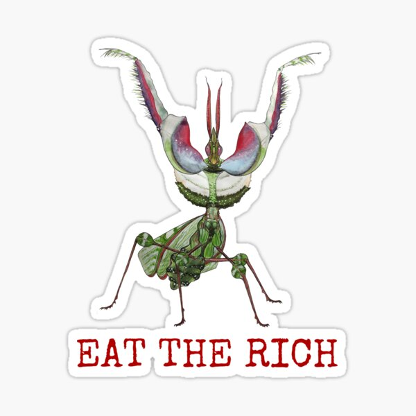 EAT THE RICH Devil's Flower Mantis, Idolomantis diabolica  Sticker