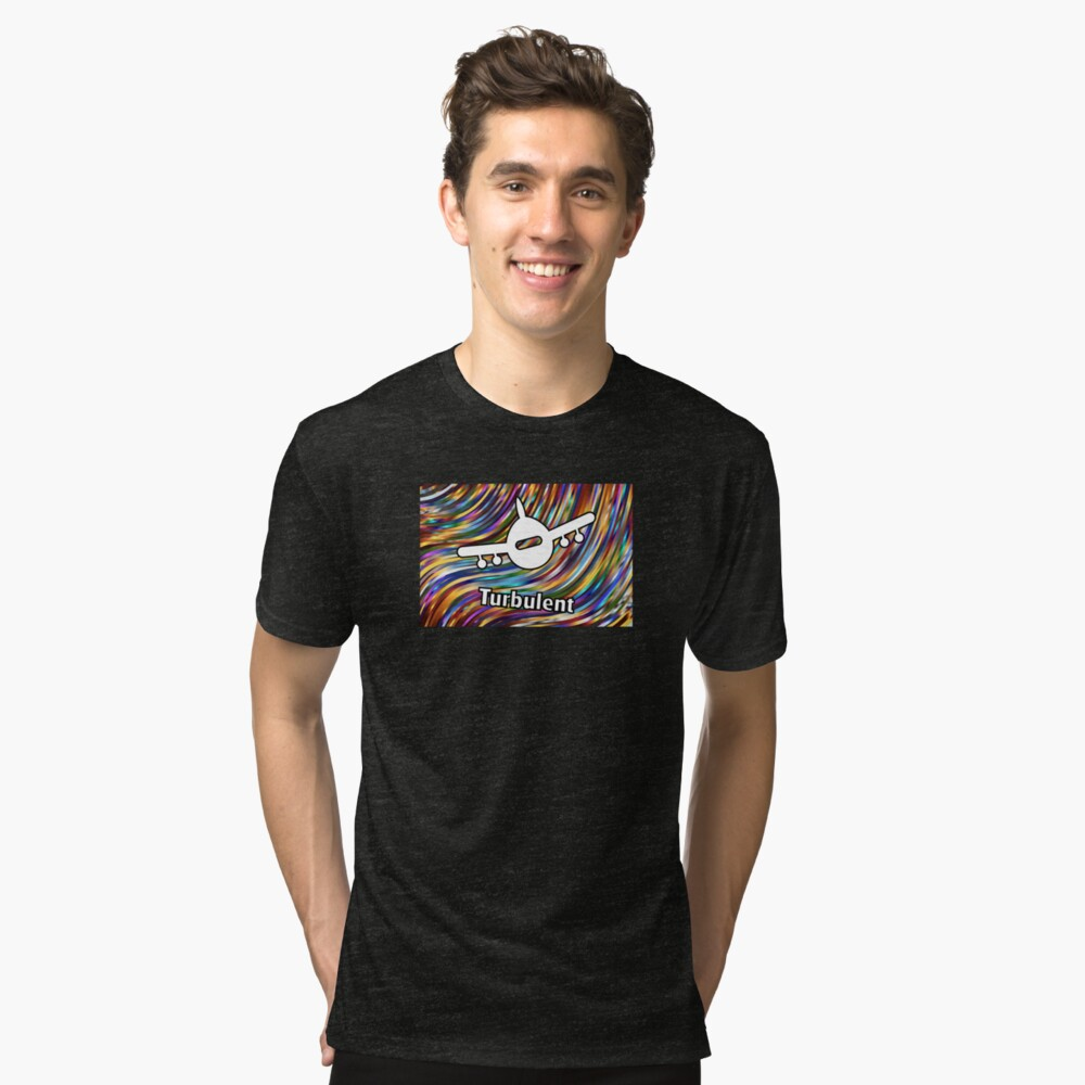 Turbulent Airplane Streaming Lines Color Tri-blend T-Shirt