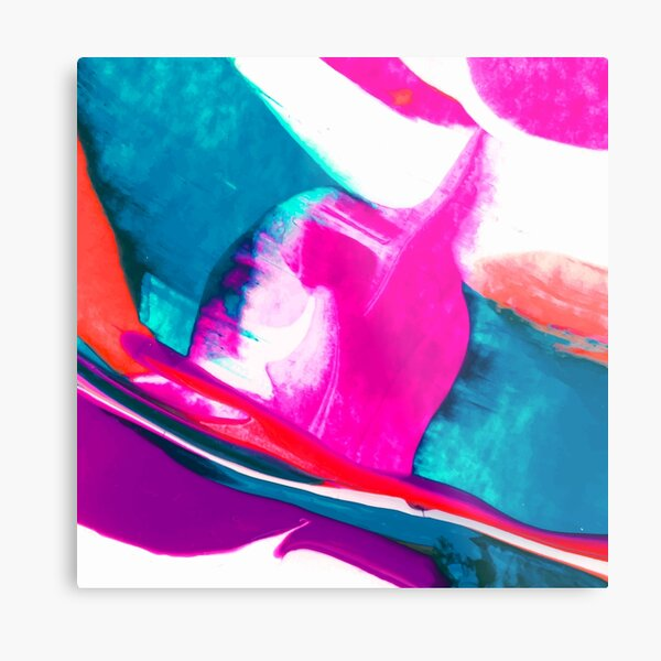 Abstract Acrylic Paint Pattern Texture #3 - Pink, White, Blue Metal Print