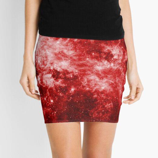 Wormhole Star Field - Red Mini Skirt