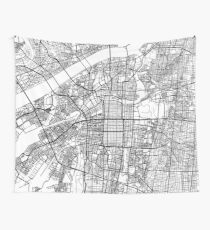 Osaka Map, Japan - Schwarz und Weiß Wandbehang