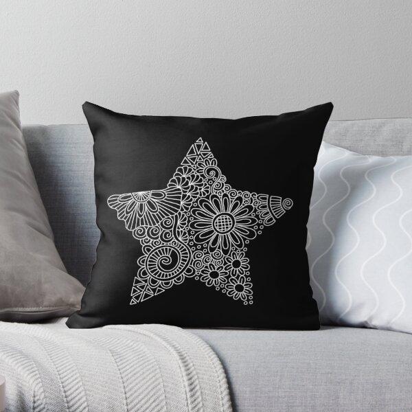 White Star Doodle Throw Pillow