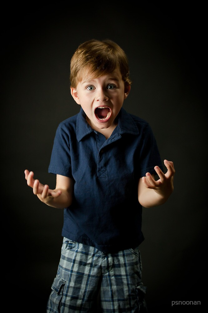 Young boy screaming with emotion by psnoonan
