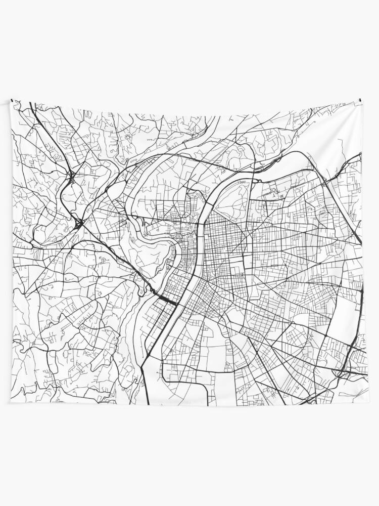 Lyon Karte.Lyon Karte Frankreich Schwarz Und Weiss Wandbehang