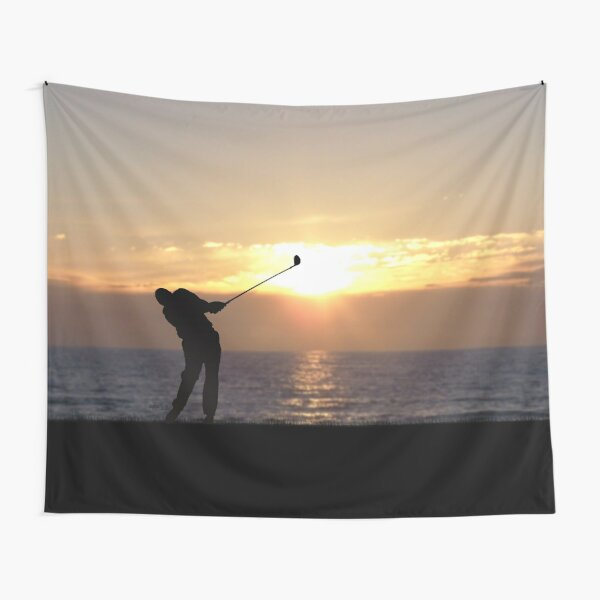 Playing Golf At Sunset Tapestry
